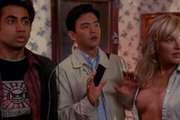 Harold and Kumar Go to White Castle 2004 Movie Harald and Kumar with Freakshows wife Liane played by Malin Akerman with her breasts showing scene
