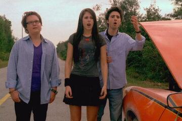 Sex Drive 2008 Movie Josh Zuckerman, Amanda Crew Clark Duke standing surprised by the car