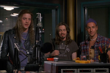 Airheads 1994 Movie Brendan Fraser, Steve Buscemi and Adam Sandler in a radio station