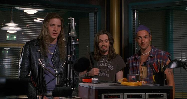 Airheads 1994 Movie Brendan Fraser, Steve Buscemi and Adam Sandler in a radio station