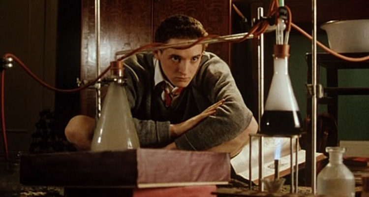 The Young Poisoners Handbook 1995 Movie Hugh O'Conor as Graham Young looking at a chemical process of distillation