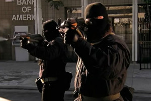 44 Minutes The North Hollywood Shoot-Out 2003 Movie Two bank robbers starts shooting at the police outside of the bank holding an AR-15 style rifle Bushmaster XM-15 with a drum magazine scene