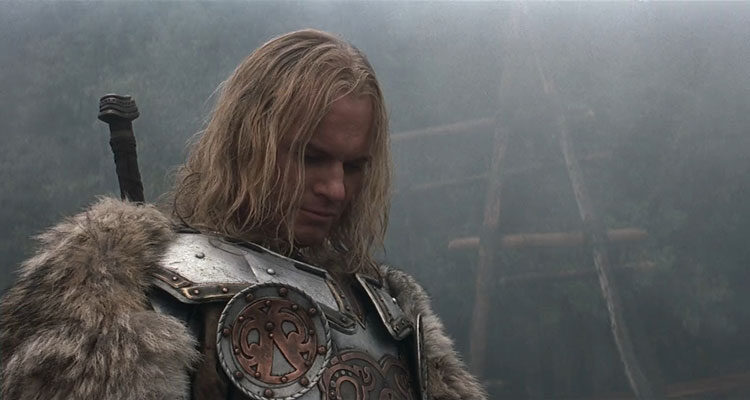 The 13th Warrior 1999 Movie Scene Vladimir Kulich as Buliwyf, the Viking leader in an armor and furry coat