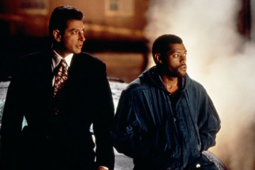 Deep Cover 1992 Movie Laurence Fishburne and Jeff Goldblum waiting by the car