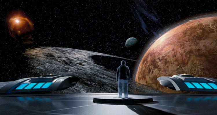 Galaxy Quest 1999 Movie Scene Tim Allen as Jason Nesmith seeing a planet with a ring around it and a distant sun while onboard a spaceship