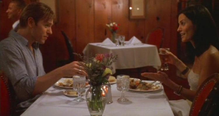 The Runner 1999 Movie Courteney Cox and Ron Eldard having dinner scene