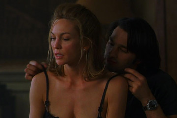 Unfaithful 2002 Movie Diane Lane and Olivier Martinez in his studio as he's taking of her bra and proceeds to make love to her scene