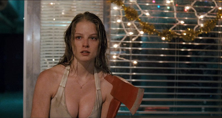 P2 2007 Movie Rachel Nichols in a white dress with big cleavage holding an axe