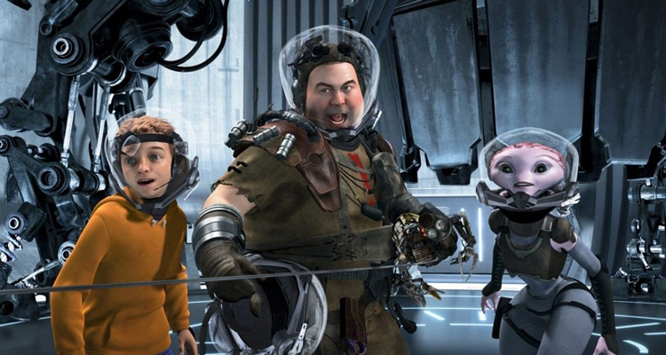 Mars Needs Moms 2011 Movie Milo, Gribble and Ki using a lasso to fight the Martians scene
