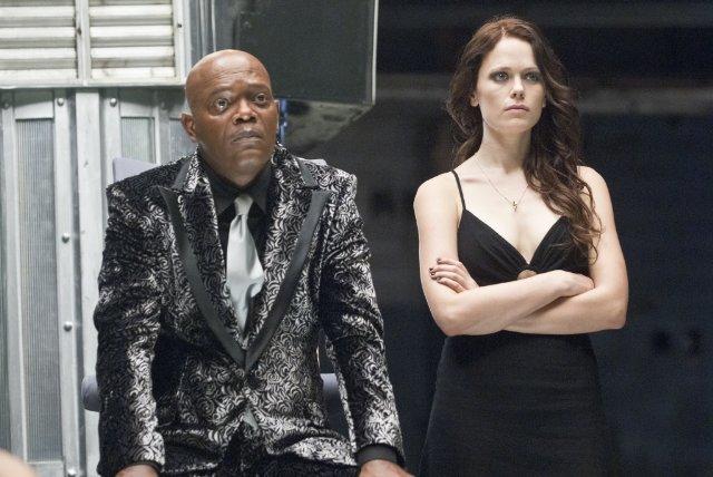 Arena 2011 Movie Scene Samuel L. Jackson as Logan and Katia Winter as Milla