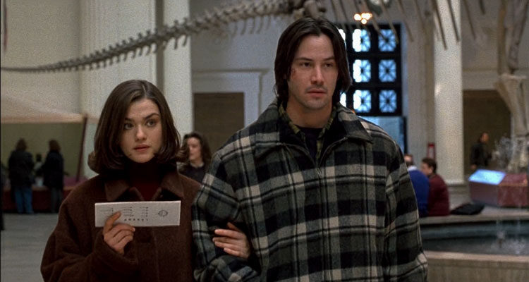 Chain Reaction 1996 Movie Scene Keanu Reeves and Rachel Weisz in the museum