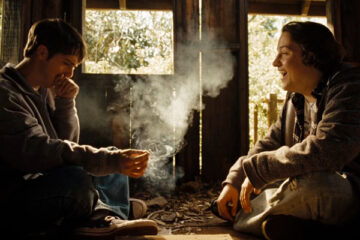 High School 2010 Movie Scene Sean Marquette as Travis Breaux and Matt Bush as Henry Burke smoking a joint in the treehouse