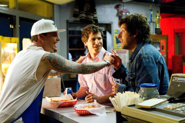 That's My Boy [2012] Movie Andy Samberg, Adam Sandler and Vanilla Ice eating dinner late