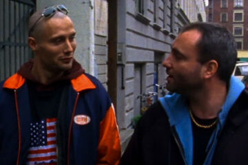 Pusher 1996 Movie Scene Kim Bodnia as Frank and Mads Mikkelsen as Tonny walking down the street after a drug deal