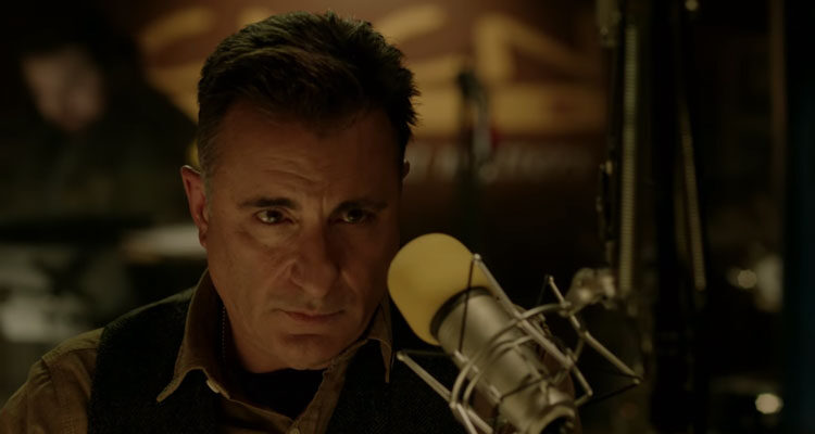 A Dark Truth 2012 Movie Andy Garcia as a radio host with a microphone