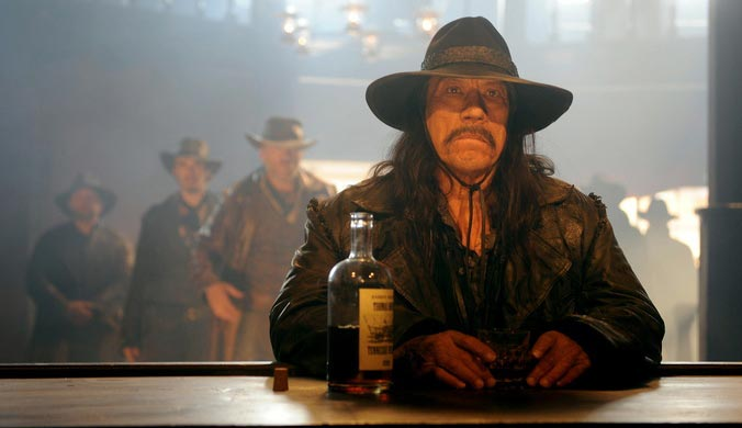 Dead In Tombstone [2013] Movie Danny Trejo as Guerrero sitting in a bar drinking scene