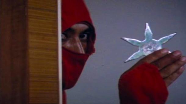 Ninja Terminator [1985] Movie Red ninja with a shuriken