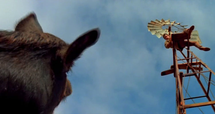 Razorback 1984 Movie Giant boar watches a man who fled to the top of the windmill scene