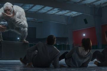 Goosebumps 2015 Movie Scene Giant Yeti or Bigfoot creature squatting in the ice rink