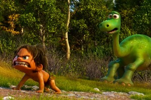 The Good Dinosaur 2015 Movie Arlo and Spot growling at a band of dangerous dinosaurs
