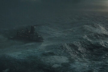 The Finest Hours 2016 Movie Scene SS Pendleton in the middle of the storm riding on huge waves