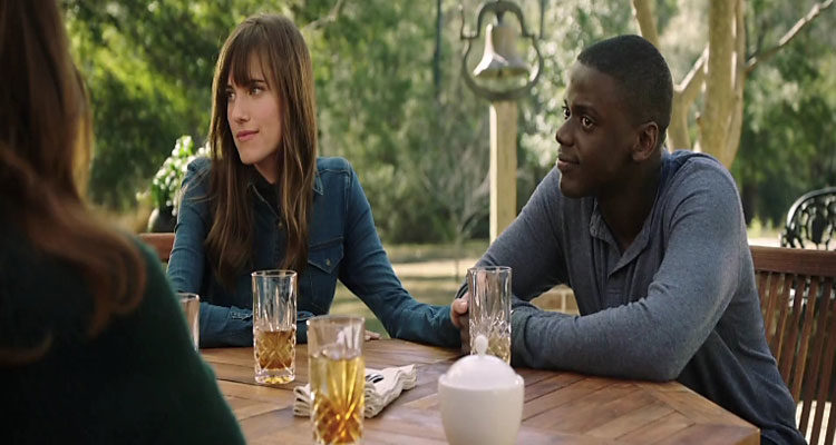 Get Out 2017 Movie Review Daniel Kaluuya as Chris Washington and Allison Williams as Rose Armitage having lunch with her parents scene