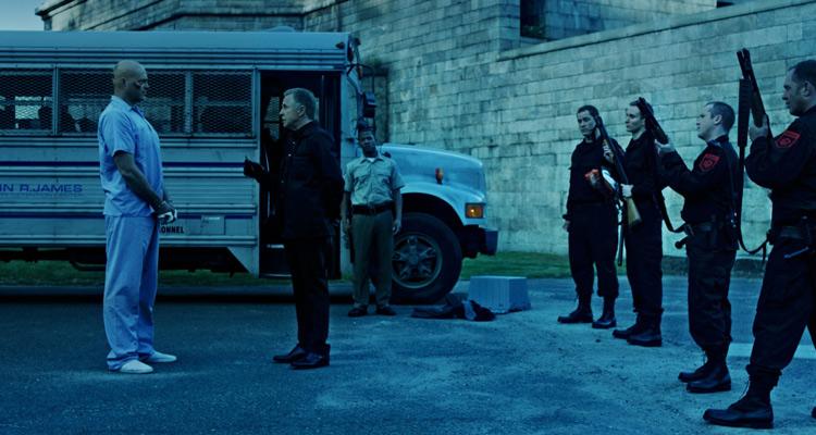 Brawl in Cell Block 99 2017 Vince Vaughn as Bradley Thomas and Don Johnson Warden Tuggs Arrival in prison scene