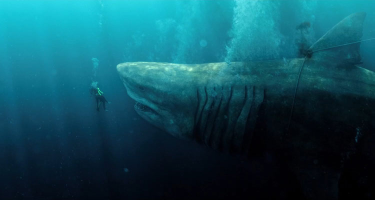 The Meg 2018 Giant shark tied by rope is trying to eat Jason Statham