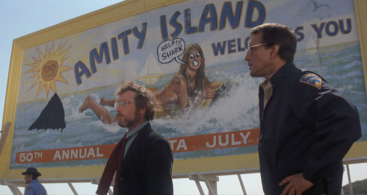 Jaws Movie - Brody and Hooper talk about the billboard
