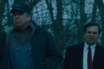 Dark Waters 2019 Mark Ruffalo as Rob Bilott and Bill Camp as Wilbur Tennant looking at poisoned lake in Parkersburg