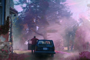Color Out Of Space 2019 Movie Nicolas Cage as Nathan leaving car with pink mist around the house scene