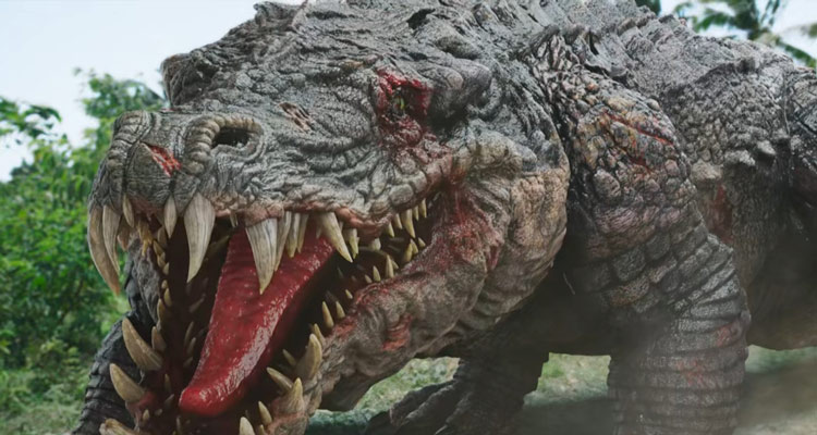 Crocodile Island 2020 Giant mutated crocodile with its jaws open and tongue showing