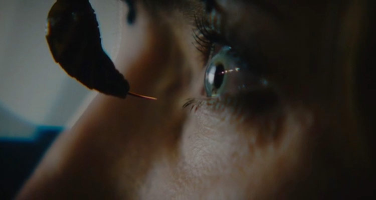 Stung 2015 Movie Giant wasp with her stinger out really close to the eye of the woman