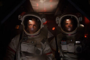 Dark Side of the Moon 1990 Movie Robert Sampson and Will Bledsoe in spacesuits exploring the abandoned spaceship
