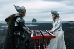 Eurovision Song Contest The Story of Fire Saga 2020 Movie Will Ferrell dressed as a viking superhero and Rachel McAdams in a fancy dress playing keyboards