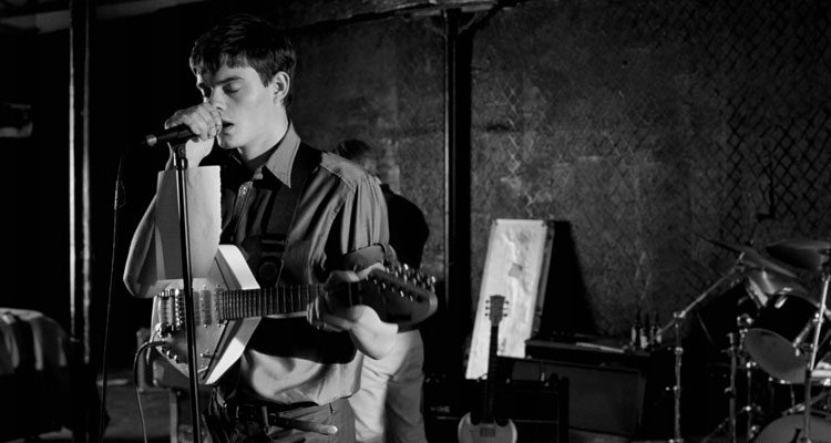 Control 2007 Movie Sam Riley as Ian Curtis singing in a studio