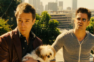 Seven Psychopaths 2012 Movie Sam Rockwell holding a small dog and Colin Farrell