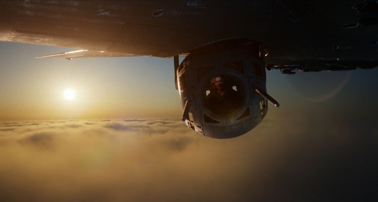 Shadow in the Cloud 2020 Movie Chloe Grace Moretz in a B-17 bomber ball turret called sperry