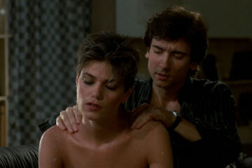 After Hours 1985 Movie Griffin Dunne giving a massage to sexy and half nude Linda Fiorentino