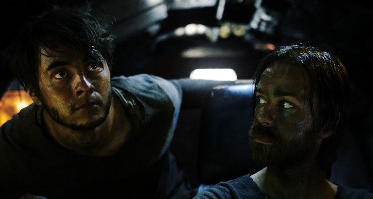Final Voyage AKA Das Letzte Land 2019 Movie Torben Föllmer as Adem and Milan Pesl as Novak looking toward the stars