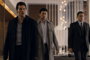 The Loft 2014 Movie James Marsden, Karl Urban and Wentworth Miller looking terrified after they discovered a dead body in their loft