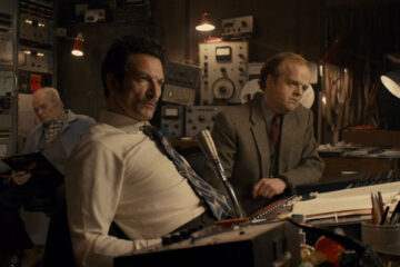 Berberian Sound Studio 2012 Movie Toby Jones as Gilderoy and Cosimo Fusco as Francesco in the studio