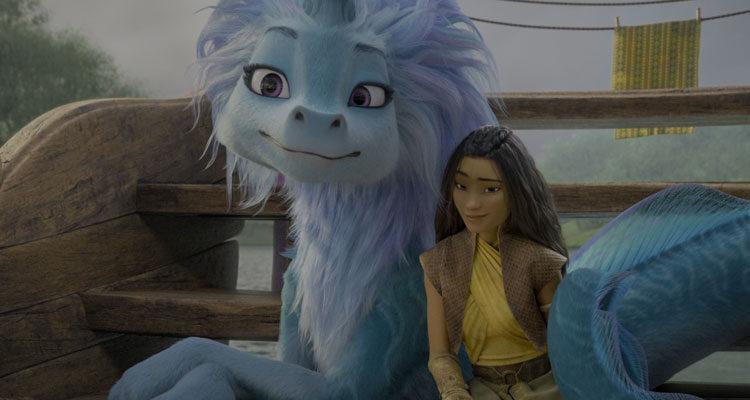 Raya and The Last Dragon 2021 Movie Dragon Sisu and Raya on the boat