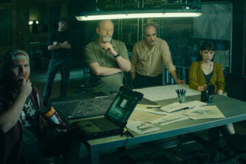 Way Down AKA The Vault 2021 Movie Liam Cunningham, Luis Tosar, Astrid Bergès-Frisbey, Axel Stein and Sam Riley in the background planning the heist