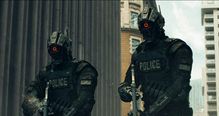 Code 8 2019 Movie Two Guardians, special police robots with their weapons drawn