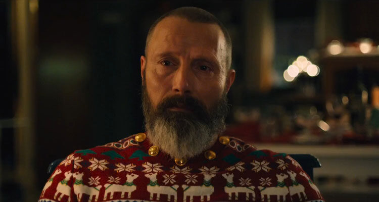 Riders of Justice 2020 Movie Mads Mikkelsen as Markus wearing a Christmas themed sweater