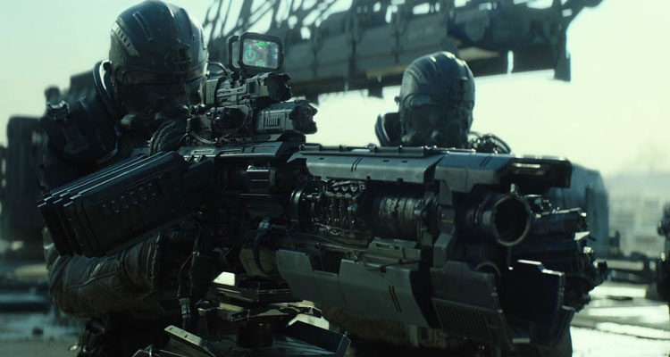 Spectral 2016 Movie Max Martini as Capt. Sessions preparing to fire a huge futuristic weapon