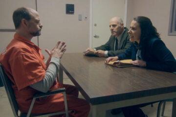 Confession 2020 Movie Scene Gary C. Stillman as Jared Lamb and Queena DeLany as Reina Herrera questioning Gavin Lyall as Dean McCallum
