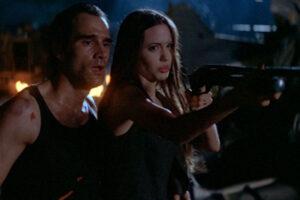 Cyborg 2 Glass Shadow 1993 Movie Scene Elias Koteas and Angelina Jolie