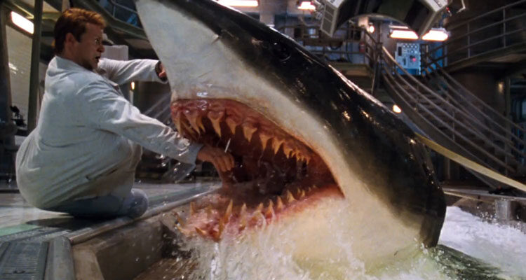 Deep Blue Sea 1999 Movie Scene Shark eating the hand of Stellan Skarsgard as Jim Whitlock